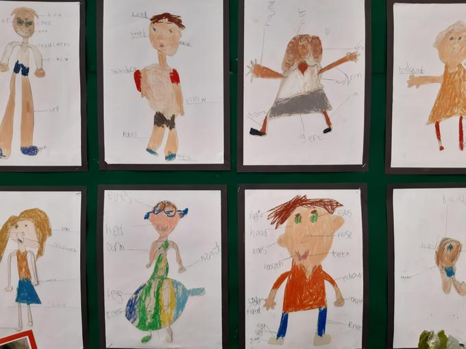We coloured our portraits with pastels