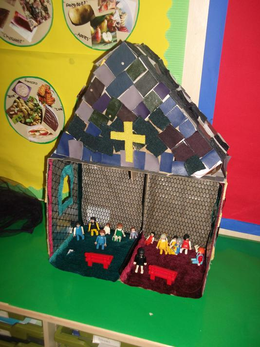 We made a church with reclaimed materials.