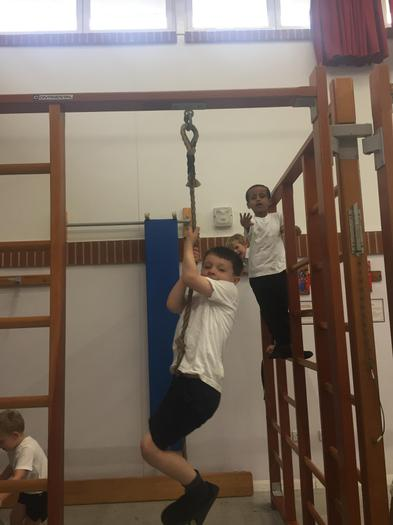 We were climbing on the rope and frames!