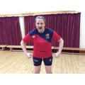 Miss Morgan wearing her Lichfield ladies rugby kit