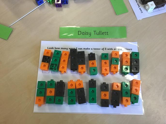 and investigating different ways of making the number 3 using 3 colours