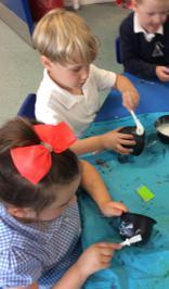 Enterprise Pots - the children have been decorating pots as part of their Enterprise project 21