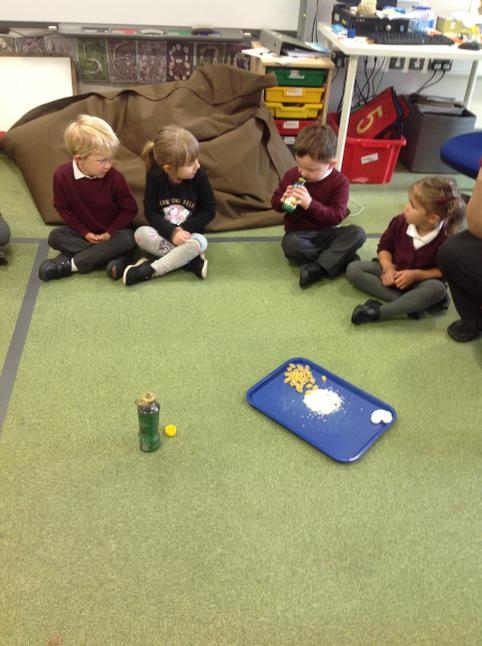 We explored sensory trays - using sight, smell and touch