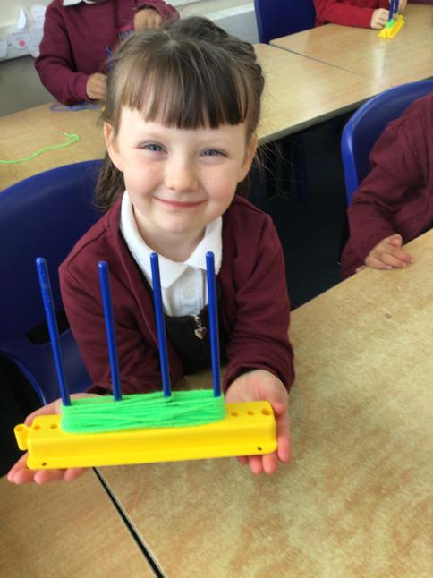 We practised weaving with wool during our D&T day!