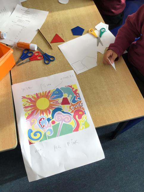 We annotated Matisse's collage to unpick what lines, colours and shapes we could spot!