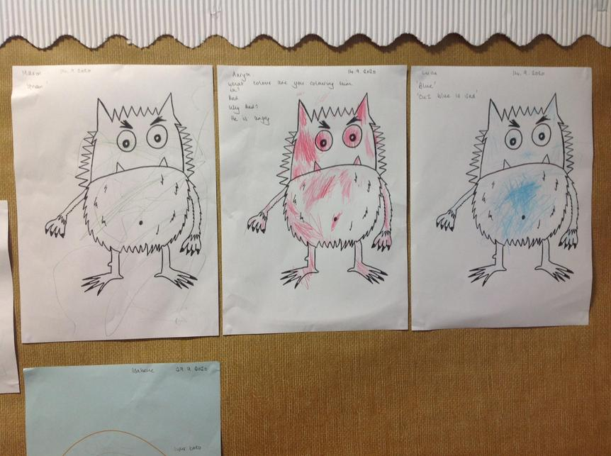 We represented how we feel using different colours