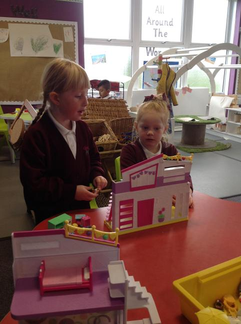 The children loved telling stories with the small world.