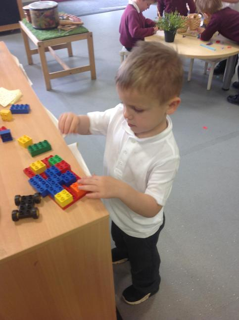 Constructing with Duplo.