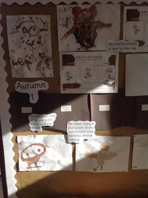 Some of our work around the story 'Owl Babies.'