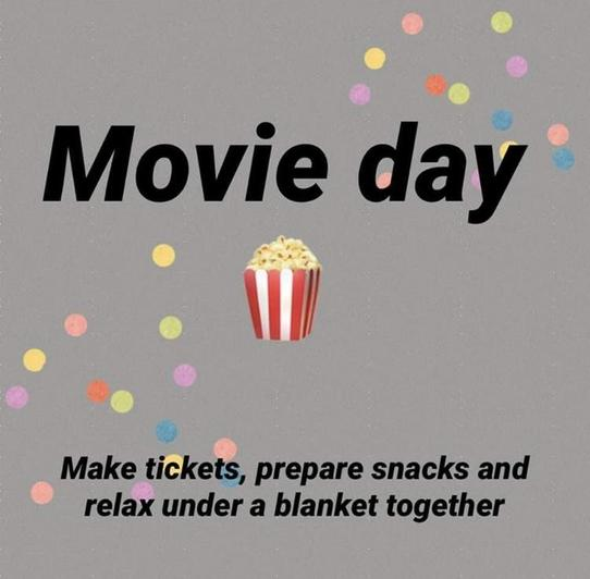 Enjoy a movie day. Make your own tickets and snacks.