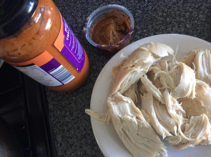 Left over chicken and sauce