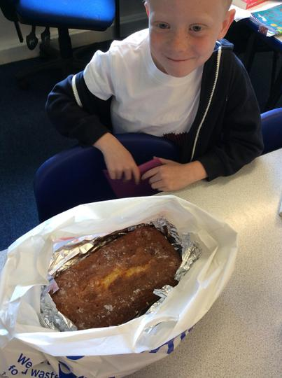 Oliver made a luxurious lemon drizzle!