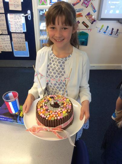 Abbie's cake has hidden raspberries inside!