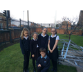 Eco-committee with the wrecked Greenhouse