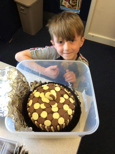 Liam made a choceriffic chocolate cake!