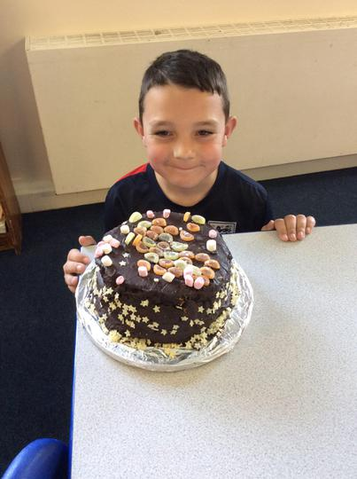 Logan made a choc-orange cake!