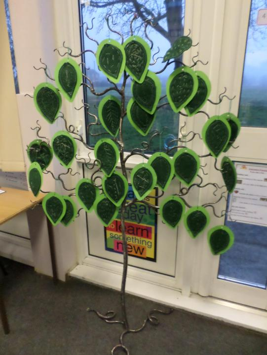 These are our hand-sewn decorated leaves.