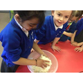 Making our own bread in the Pudding Lane Bakery