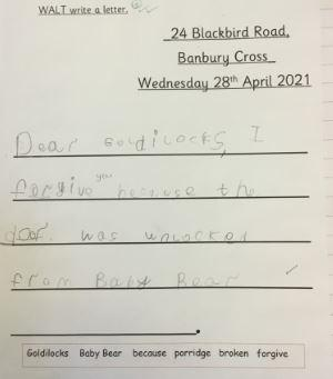 We have written letters to Goldilocks from Baby Bear