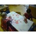 Heart sponge painting