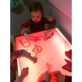Exploring red with light box