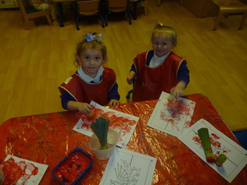 Using leeks to paint the Welsh flag