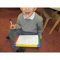 Gareth practising markmaking orientation