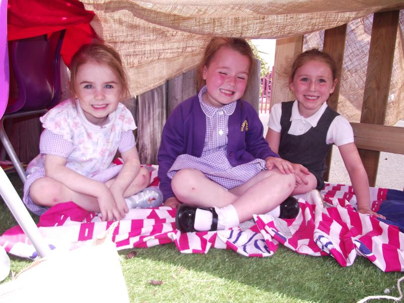 Tilly, Katie and Ava enjoy their den.