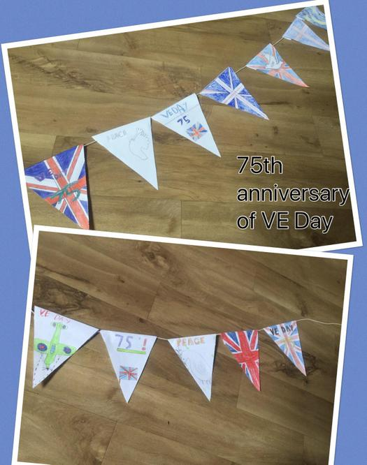 Children made bunting to celebrate VE Day