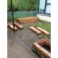 Raised beds outside Badger classroom