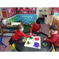 We have been making firework paintings!