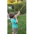 Thomas made a bow and arrow