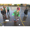 We went outside for phonics to do some bouncy blending!