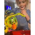 Eva's nonsense word sock puppet