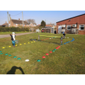 Jemima and Dexter - doing PE and Maths