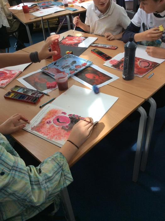 Using different media to sketch blood cells.
