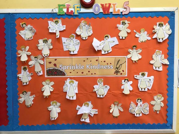 """We practised our cutting skills and each made a guardian angel linked to """"Bounce Back""""."""