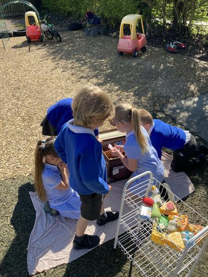 Having  picnic to celebrate St George's Day