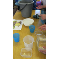 We used cups to measure water