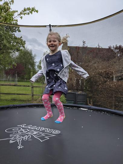 100 bounces on the trampoline