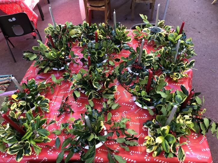 Look at our amazing holly table decorations!