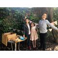 Taylor children all set for a cream tea picnic!
