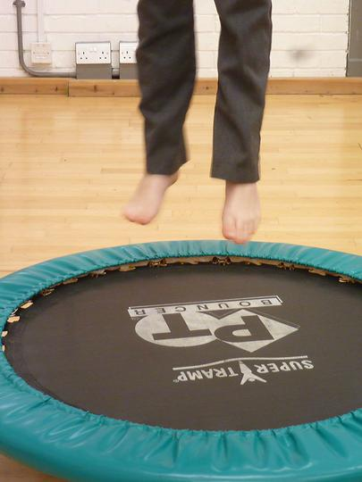 Alerting - bouncing on a trampoline.