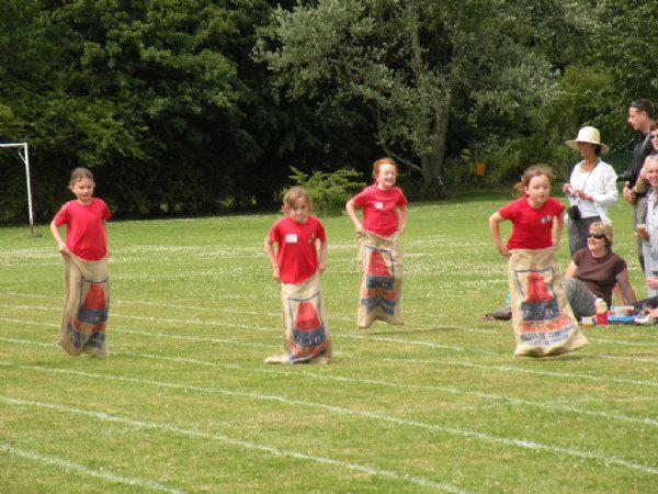 .....and KS2 children took part in the sack race