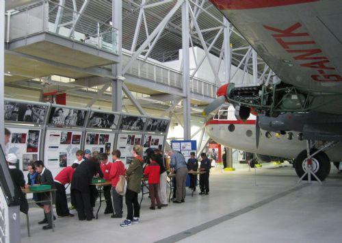 The dramatic setting in the hangar