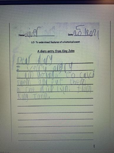 Oliver's Diary Entry