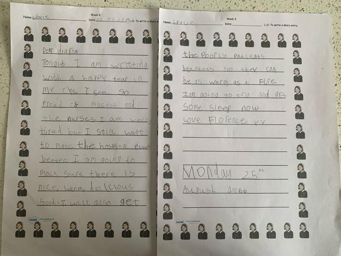 Gracie's Florence Nightingale Diary Entry