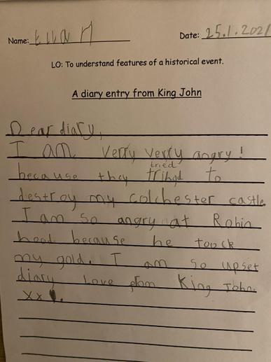 Ella's History Diary Entry