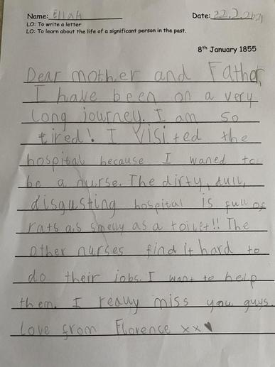 Ella's Florence Nightingale Letter
