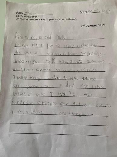 Gracie's Florence Nightingale Letter